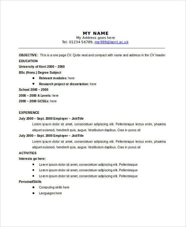 One-Page-Curriculum-Vitae-Format One Page Curriculum Vitae Mckinsey on resume or, formato de, ejemplos de, high school, what is,
