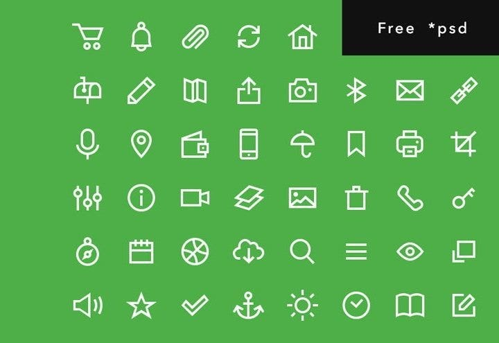 outline psd icons