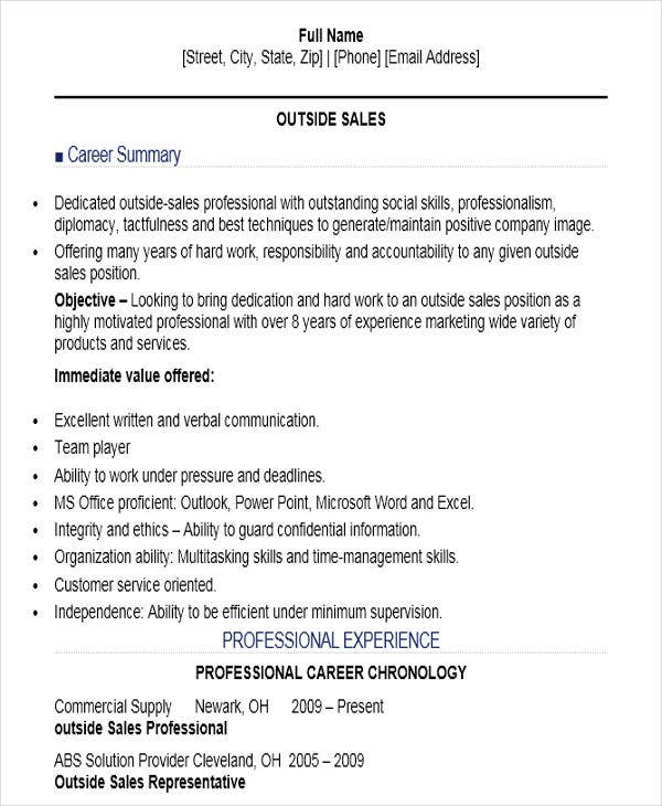 Outside Sales Professional Resume. Job Interview Site.com  Sales Job Resume