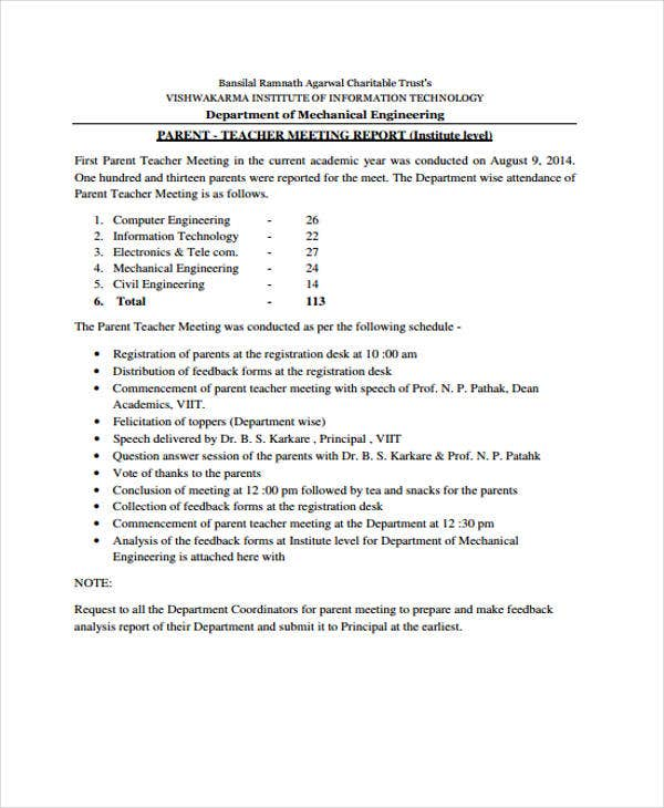 parent teacher meeting report template meeting report templates 12 free word pdf format