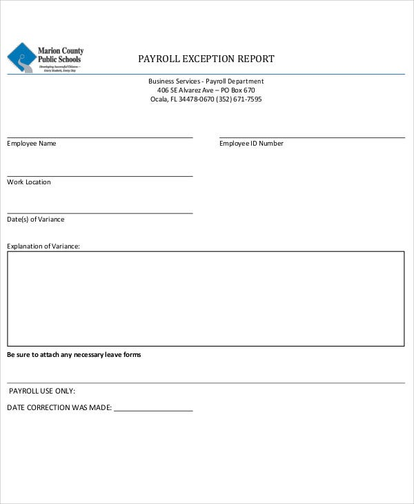 payroll exception report
