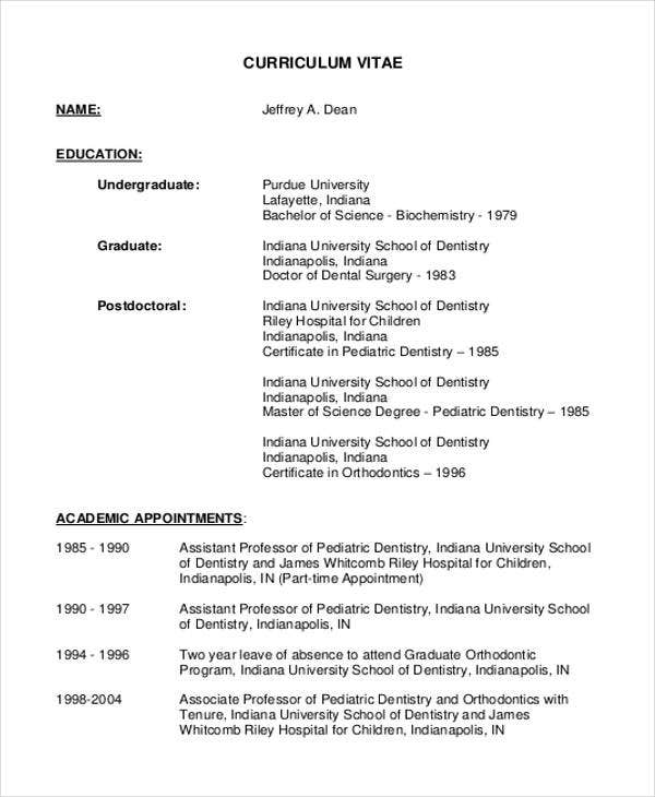 Pediatric Dentist  Dentist Resume Sample