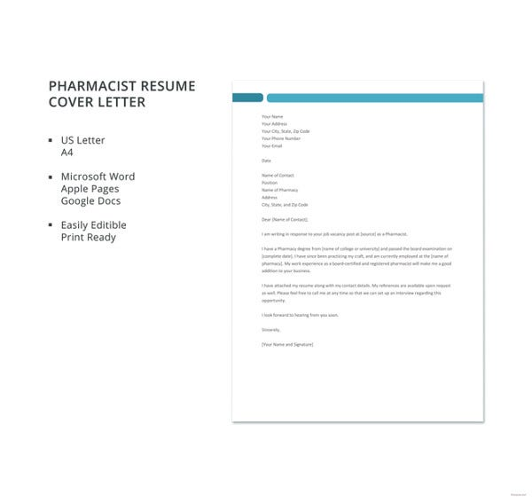 Pharmacist Resume Cover Letter Template. Free Download