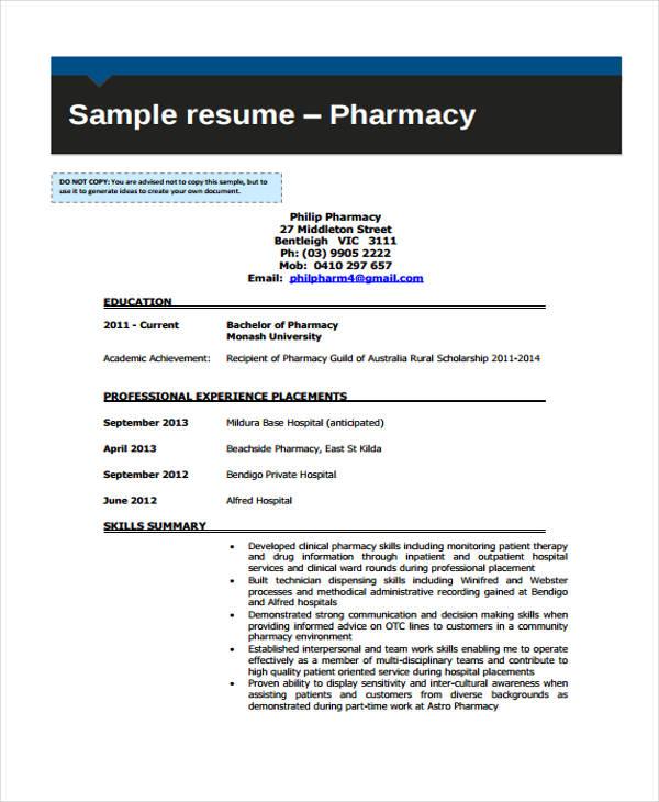 pharmacy cv1