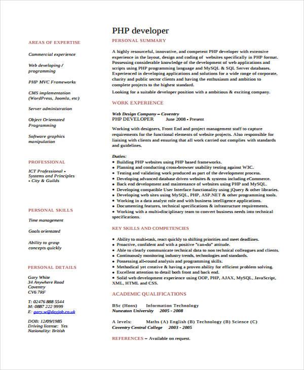 10 developer curriculum vitae templates pdf doc free premium