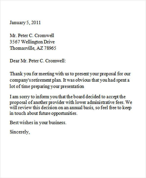 8+ Business Rejection Letters - Free Sample, Example Format
