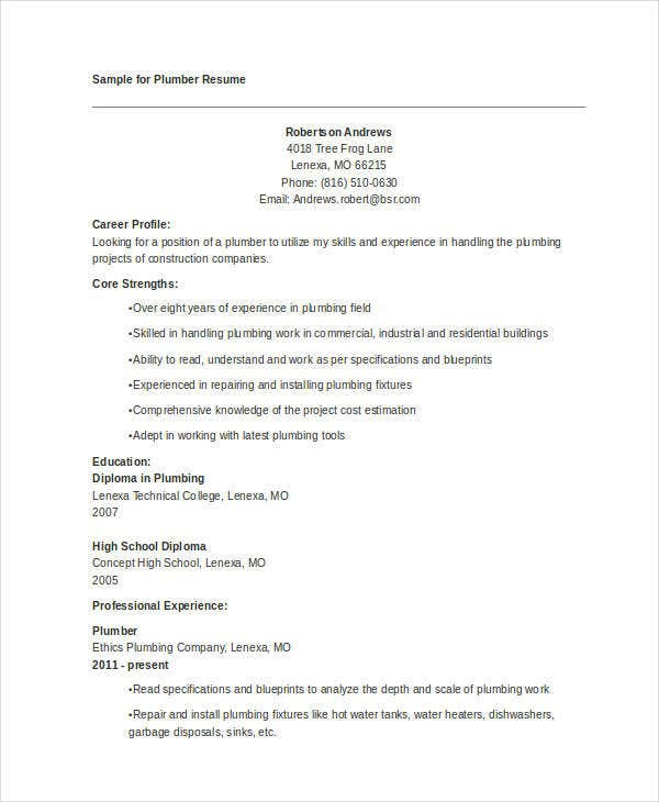 plumber resume in doc - Plumber Resume Sample