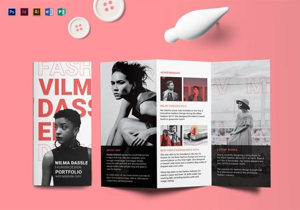 portfolio tri fold brochure indesign template