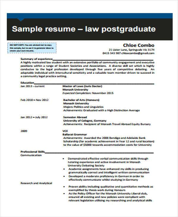 10 Sample Legal Resume Templates Pdf Doc Free