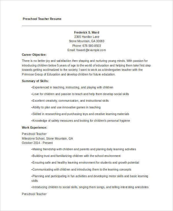 pre school teacher resume