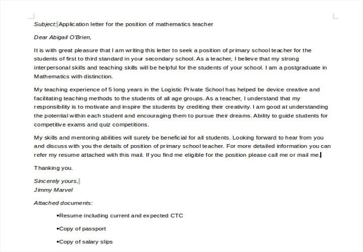 primary school teaching job application letter2