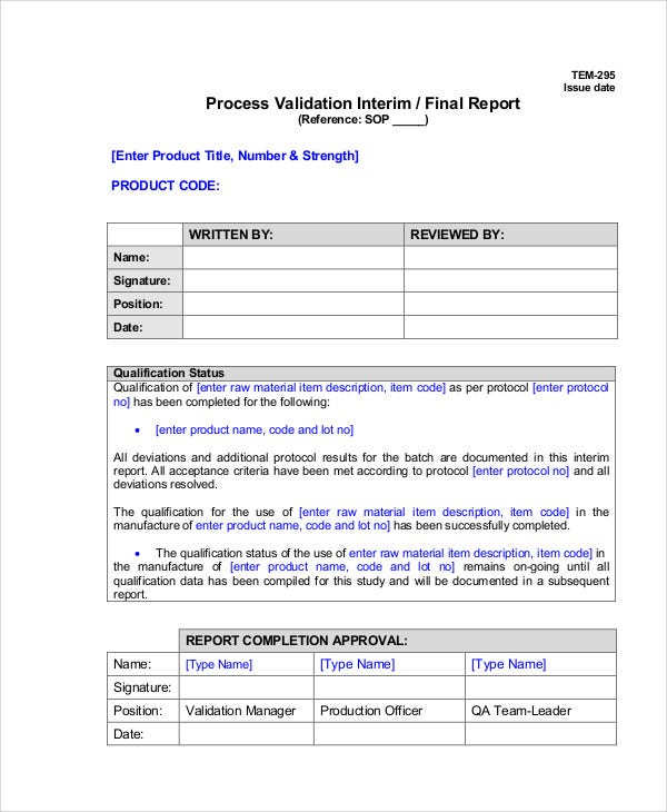 process validation report template