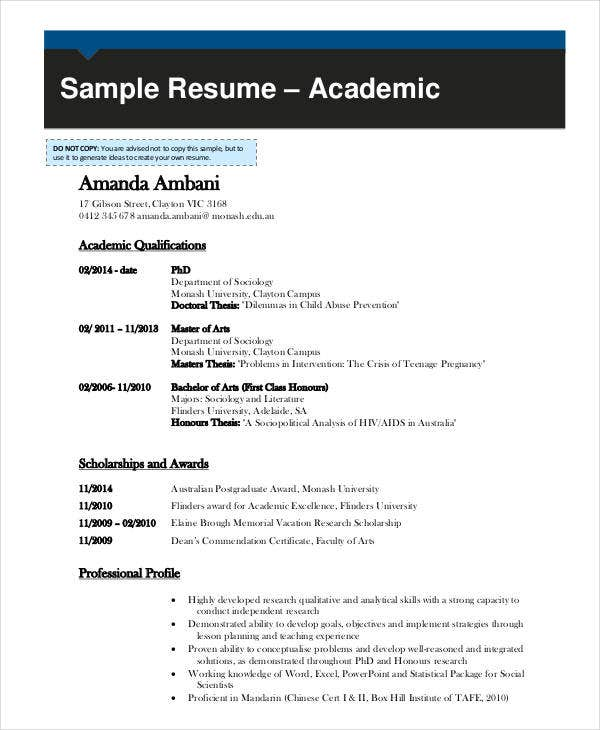 Academic Curriculum Vitae Templates In Word  Free  Premium