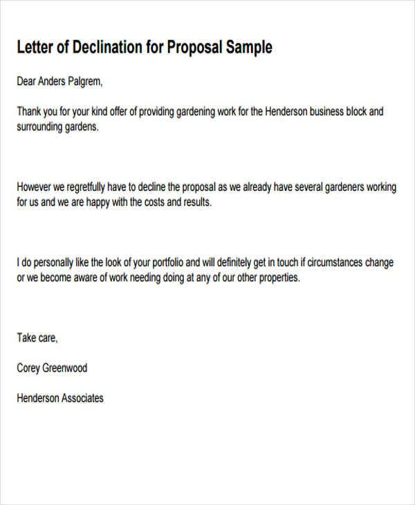 Business Rejection Letters  Free Sample Example Format