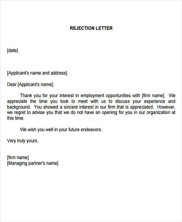 Employment Rejection Letters   Free Sample Example Format