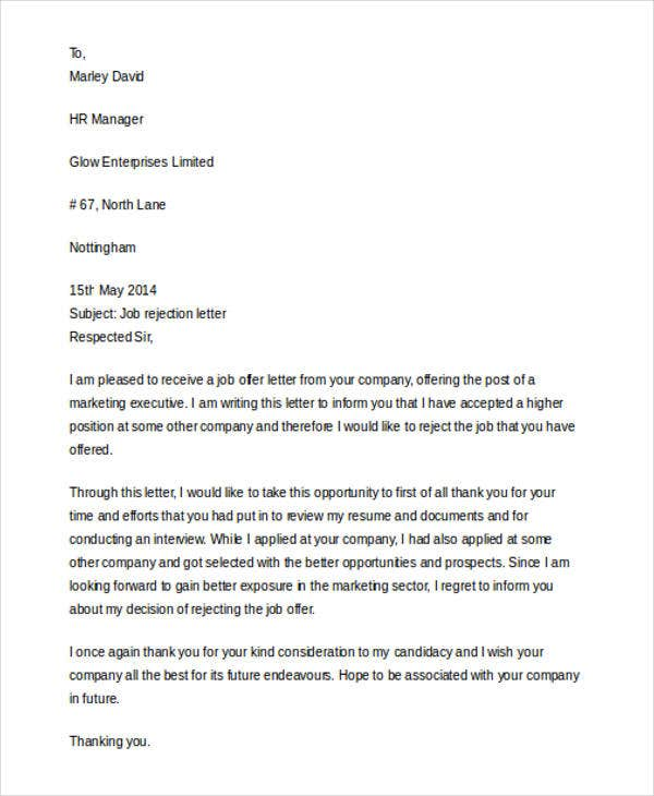 Interview Rejection Letters  Free Sample Example Format