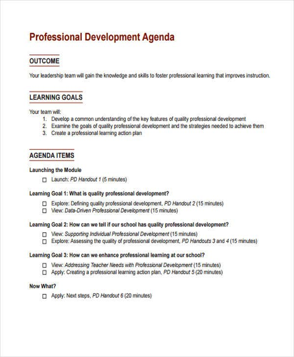professional learning agenda