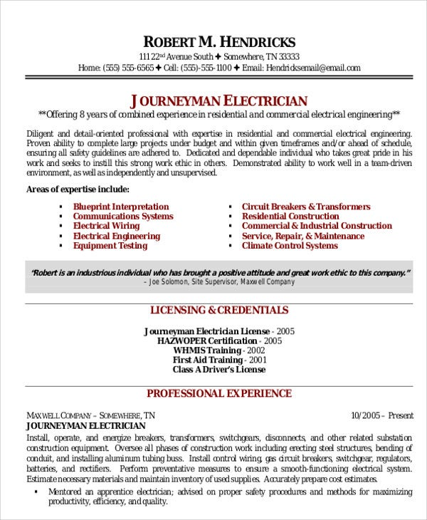 Electrician Resume Templates  Free Sample Example Format
