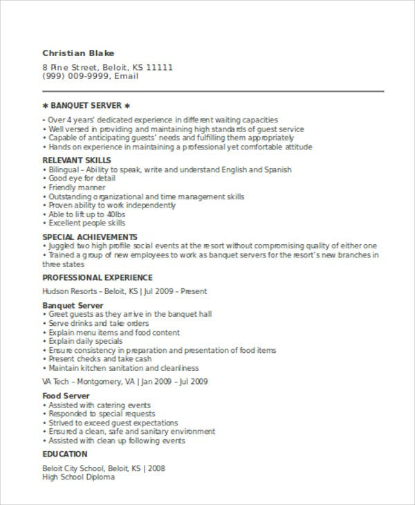 Professional Server Resume Template  Resumes For Servers