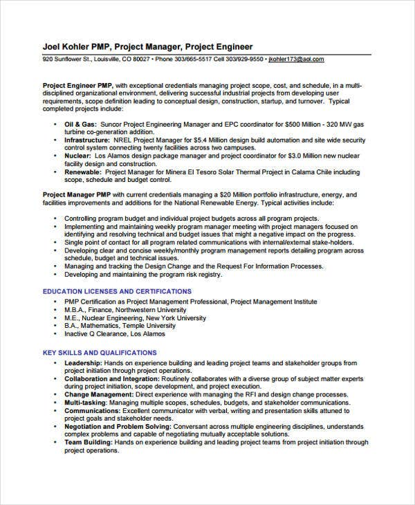 10+ Engineer Resume Samples - PDF, DOC | Free & Premium Templates
