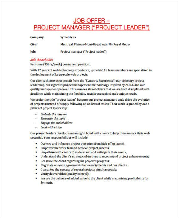 job offer letter 25 offer letter example free amp premium templates 13353 | Project Manager2