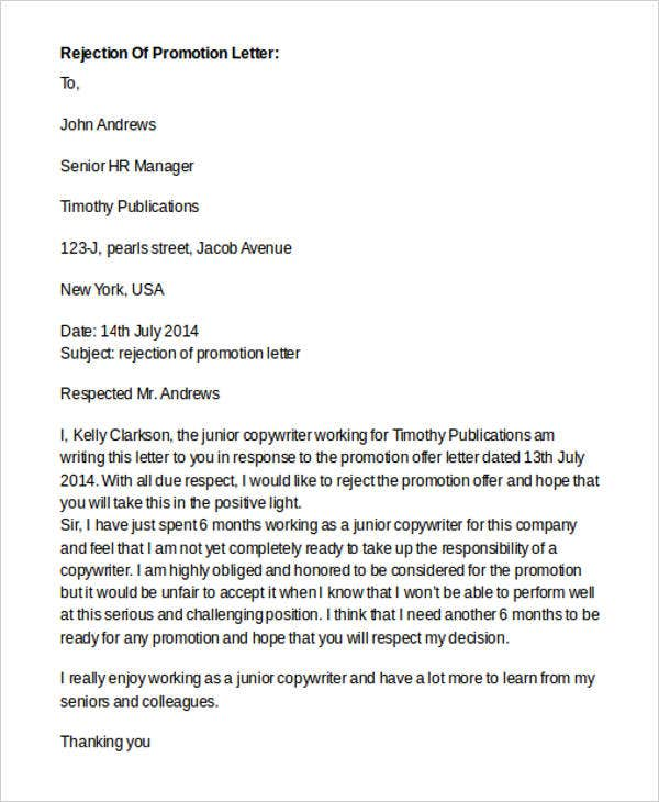 Offer Rejection Letter Templates - 8+ Free Word, PDF Format
