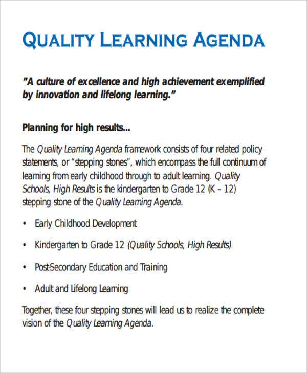 quality learning agenda