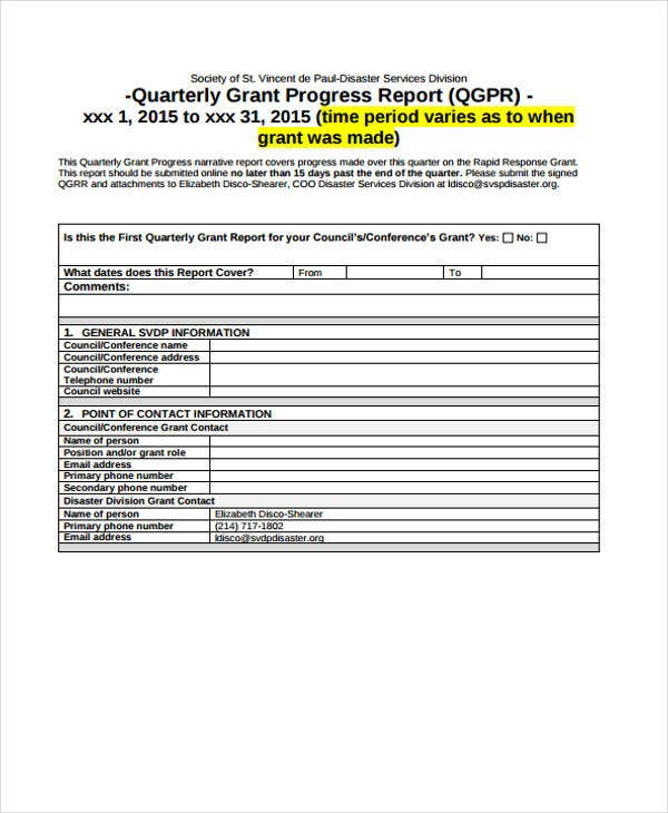 quarterly grant report template