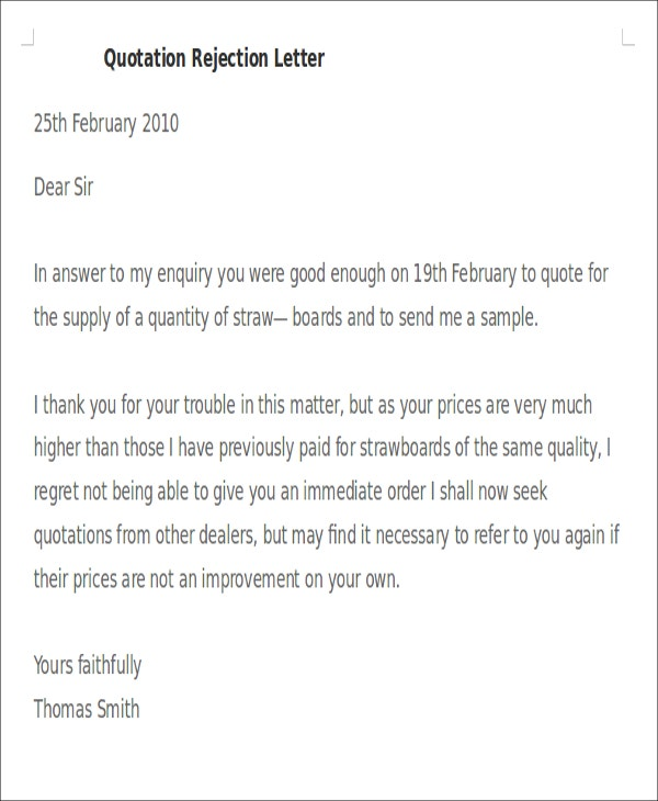 price quote letter template
