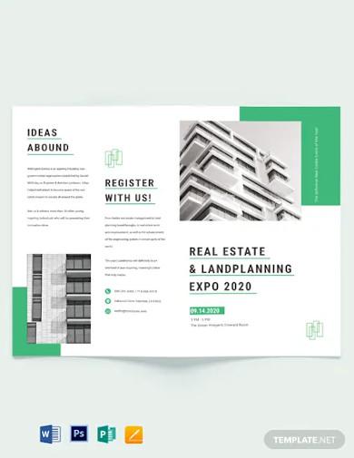 real estate corporate event bi fold brochure template
