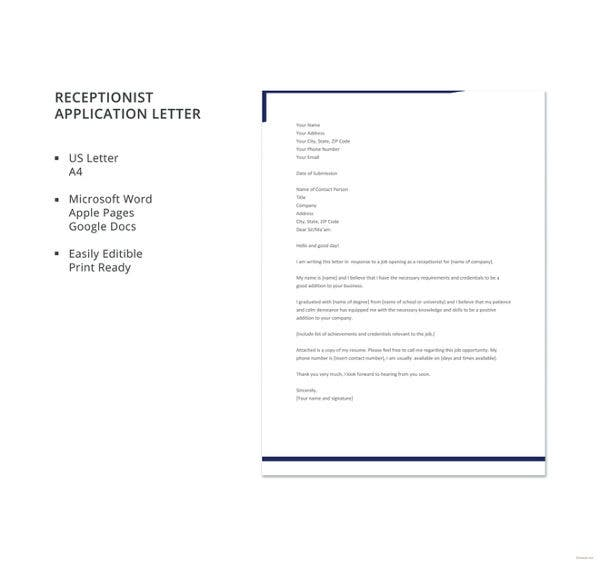 receptionist application letter template