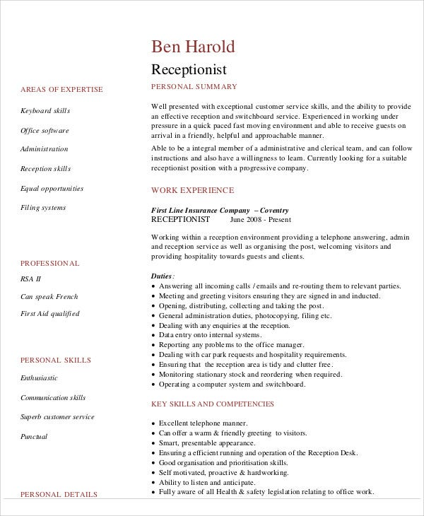 How To Write A Resume For A Receptionist Job | Resume Writing And