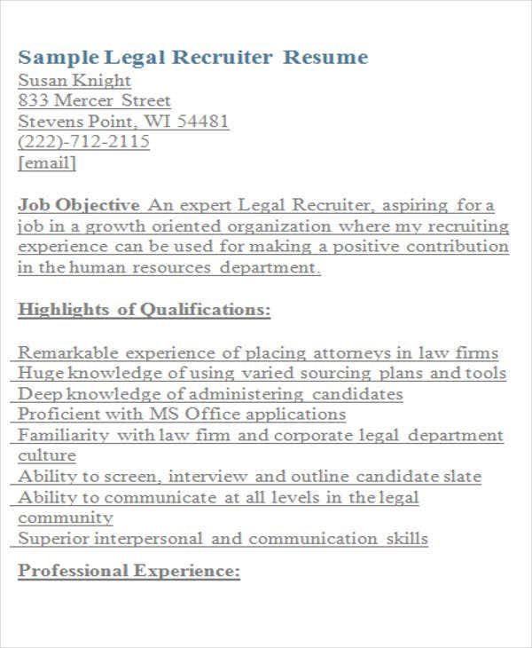 Legal Resumes - 7+ Free Word, PDF Format Download
