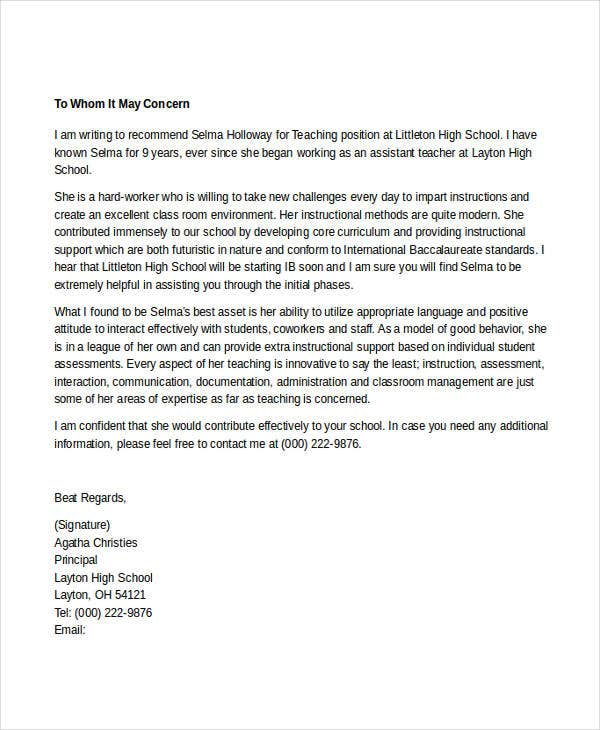 Teacher Reference Letters  Free Samples Examples Format