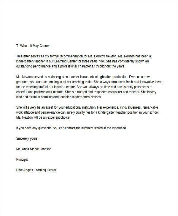 Reference Letter Daycare Teacher