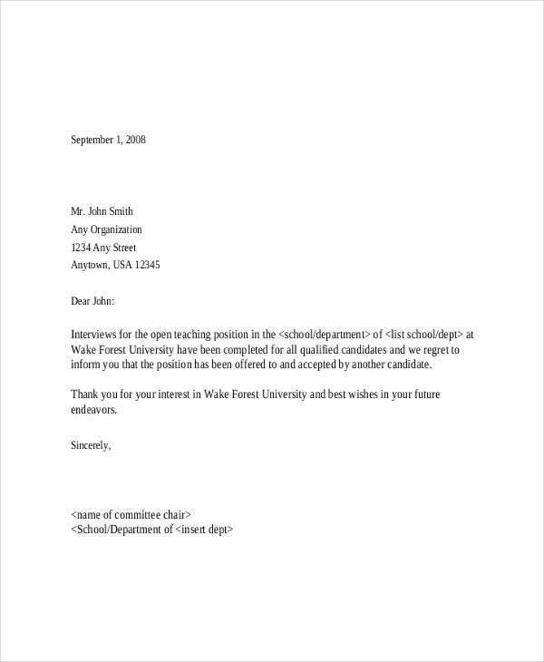 rejection letter after interview1