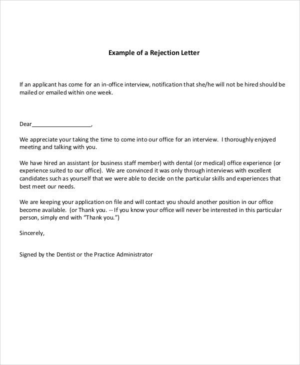 Rejection Letter Pdf  Free  Premium Templates