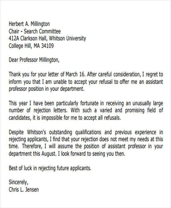rejection letter from student