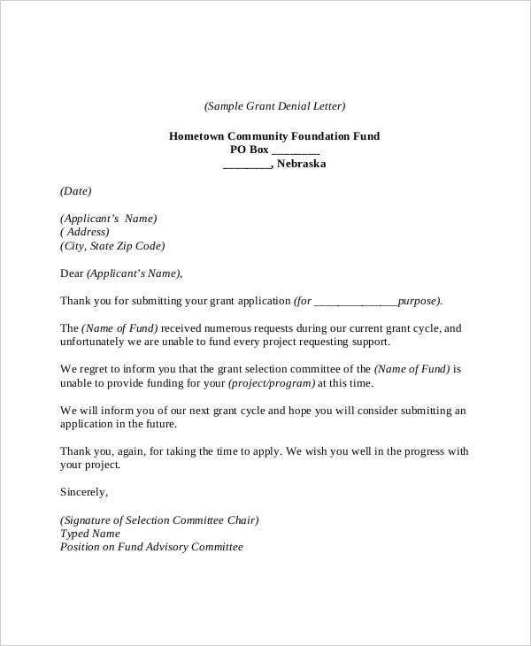 Grant Rejection Letters  Free Sample Example Format Download