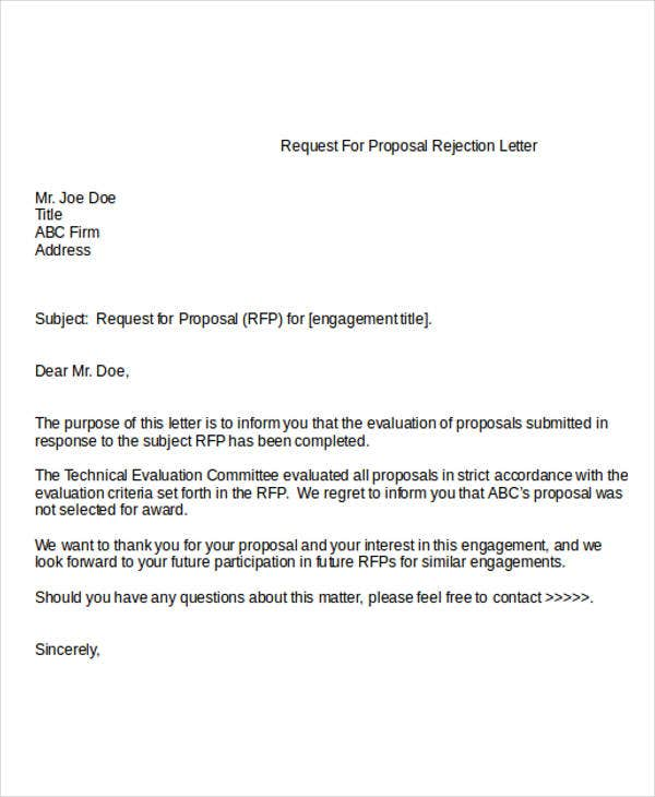 Proposal Rejection Letter Templates   Free Word Pdf Format