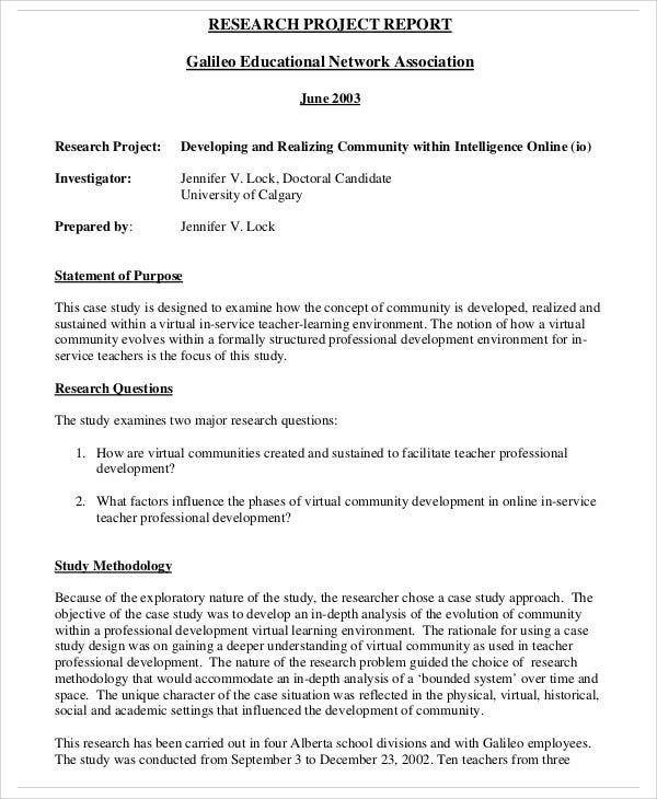Research Report Templates  Free Sample Example Format