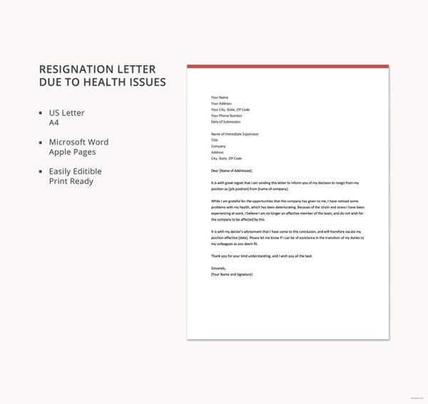 resignation letter due to health issues template1