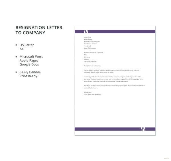 resignation letter to company template