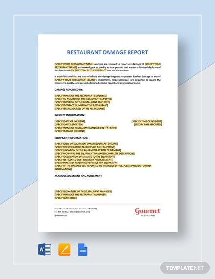 restaurant damage report