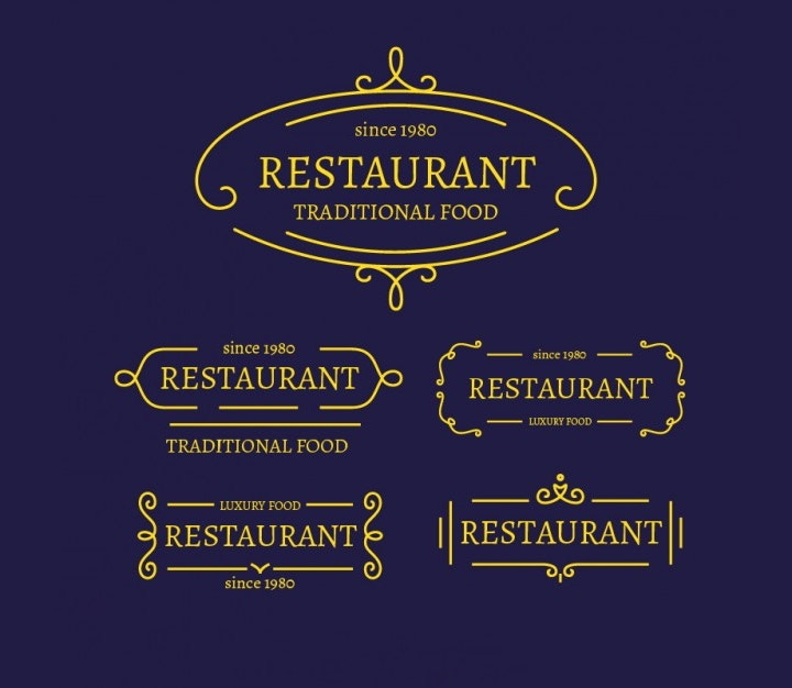 restaurent-flat-logo-collection