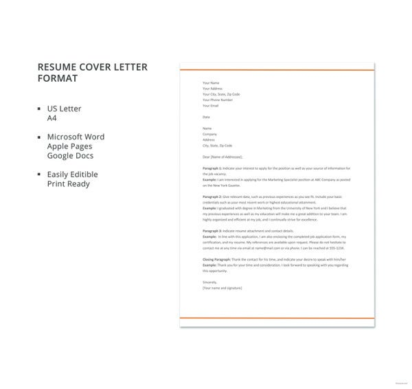 Sample Cover Letter For Resume In Word Format: 36+ Cover Letter Template In Word