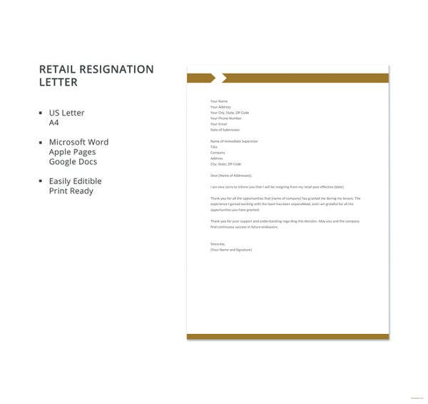 retail resignation letter template