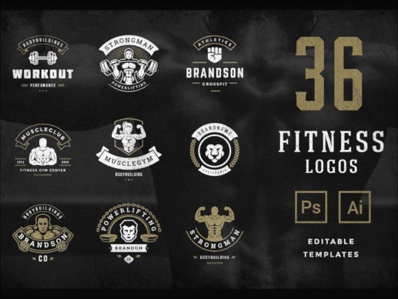 retro fitness gym logos set