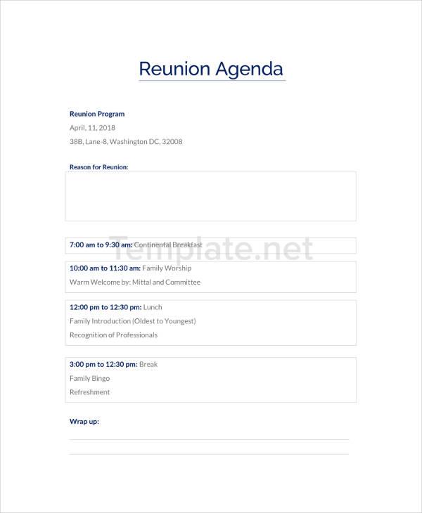 Reunion Agenda