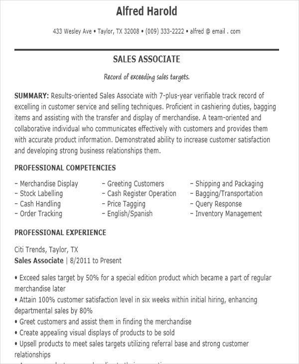 Sales Associate Job Resume